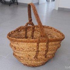 Antigüedades: CESTA ANTIGUA DE ESPARTO ESPUERTA BOLSO HECHA POR UN ARTESANO RURAL AGRICULTURA ECOLÓGICA. Lote 58571614