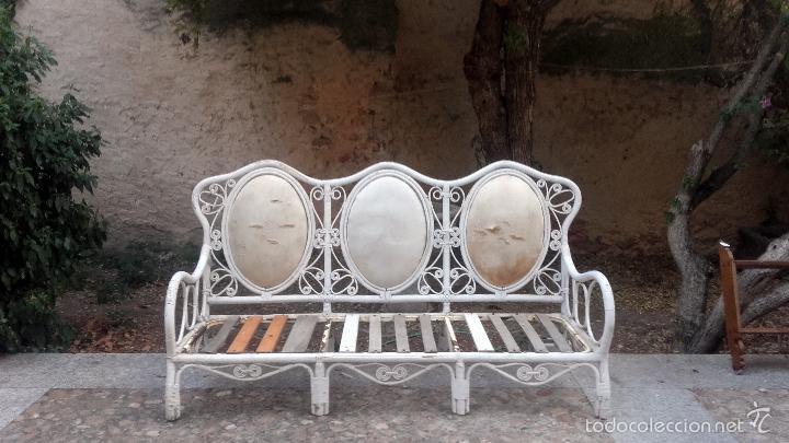 GRAN BANCO SOFÁ DE JARDÍN (Antigüedades - Muebles Antiguos - Sofás Antiguos)