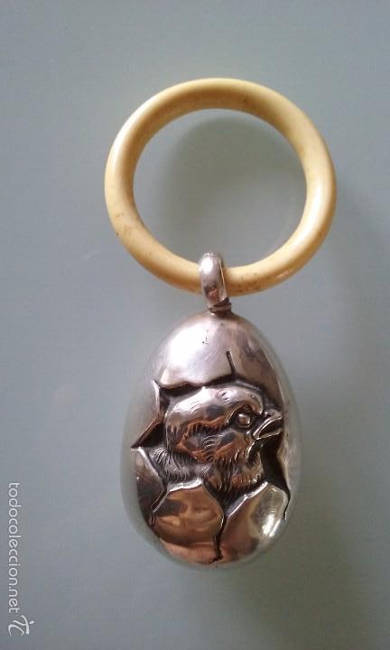 SONAJERO PLATA Y MARFIL O HUESO, SIGLO XVIII, CONTRASTE PLATERO (Antigüedades - Platería - Plata de Ley Antigua)