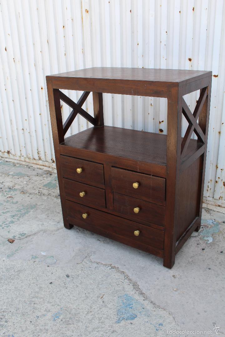 Mueble auxiliar con 5 cajones en madera de palo comprar for Muebles auxiliares clasicos madera