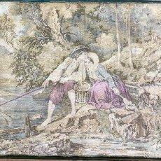 Antigüedades: TAPIZ IMPECABLE ESCENA DE CORTEJO PESCADOR HILANDERA PCIO SXX PERROS 95X 58. Lote 58618689
