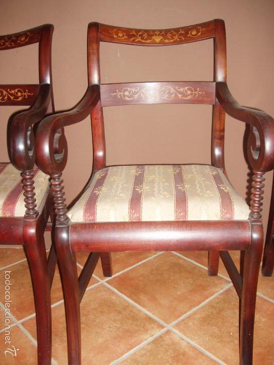 Antigüedades: BUTACA-SILLON. CONJUNTO 4 ANTIGUAS BUTACAS-SILLONES, ISABELINAS-FERNADINAS. CON MARQUETERIA DE BOJ. - Foto 2 - 58635511
