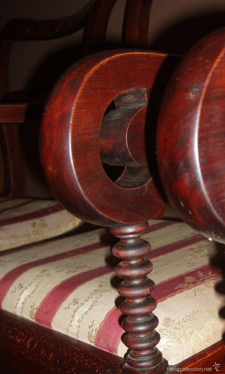 Antigüedades: BUTACA-SILLON. CONJUNTO 4 ANTIGUAS BUTACAS-SILLONES, ISABELINAS-FERNADINAS. CON MARQUETERIA DE BOJ. - Foto 4 - 58635511