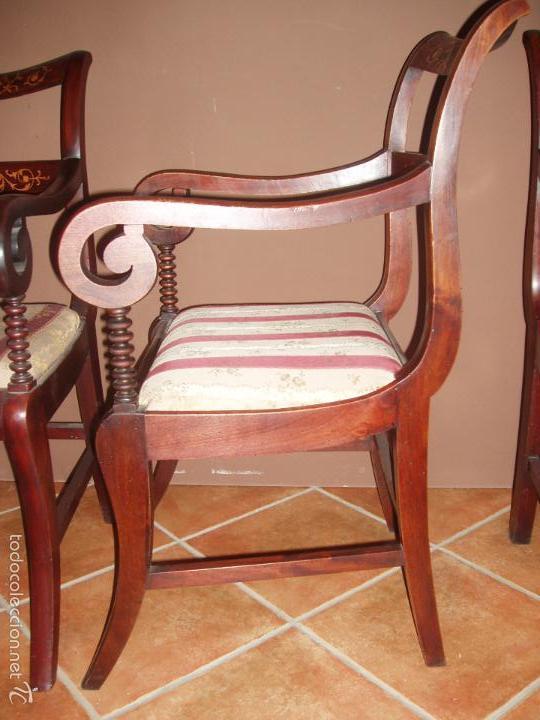 Antigüedades: BUTACA-SILLON. CONJUNTO 4 ANTIGUAS BUTACAS-SILLONES, ISABELINAS-FERNADINAS. CON MARQUETERIA DE BOJ. - Foto 5 - 58635511