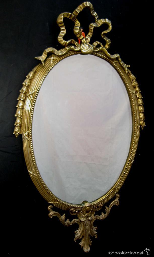 Elegante espejo antiguo en bronce estilo luis x comprar - Espejos antiguos de pared ...