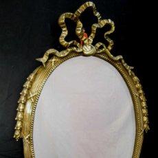 Antigüedades: ELEGANTE ESPEJO ANTIGUO EN BRONCE ESTILO LUIS XV IDEAL DECORACION VINTAGE O CLASICA. Lote 58638796