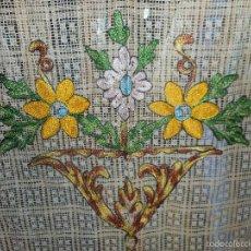 Antiquitäten - antigua y perfecta cortina con encaje y bordado con sus anillas , - 58640403