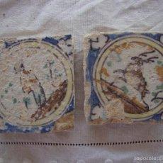 Antigüedades: PAREJA OLAMBRILLAS (AZULEJOS) SIGLO XVIII TRIANA. Lote 58647710