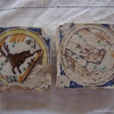 Antigüedades: PAREJA OLAMBRILLAS (AZULEJOS) SIGLO XVIII TRIANA. Lote 58647750