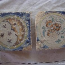 Antigüedades: PAREJA OLAMBRILLAS (AZULEJOS) SIGLO XVIII TRIANA. Lote 58647793