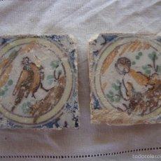 Antigüedades: PAREJA OLAMBRILLAS (AZULEJOS) SIGLO XVIII TRIANA. Lote 58647849