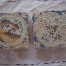 Antigüedades: PAREJA OLAMBRILLAS (AZULEJOS) SIGLO XVIII TRIANA. Lote 58648012