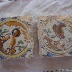 Antigüedades: PAREJA OLAMBRILLAS (AZULEJOS) SIGLO XVIII TRIANA. Lote 58648046
