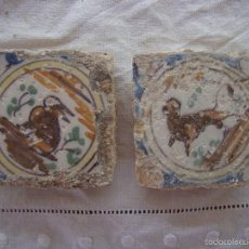 Antigüedades: PAREJA OLAMBRILLAS (AZULEJOS) SIGLO XVIII TRIANA. Lote 58648061