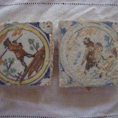 Antigüedades: PAREJA OLAMBRILLAS (AZULEJOS) SIGLO XVIII TRIANA. Lote 58648091