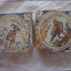 Antigüedades: PAREJA OLAMBRILLAS (AZULEJOS) SIGLO XVIII TRIANA. Lote 58648119
