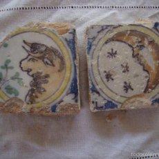 Antigüedades: PAREJA OLAMBRILLAS (AZULEJOS) SIGLO XVIII TRIANA. Lote 58648134