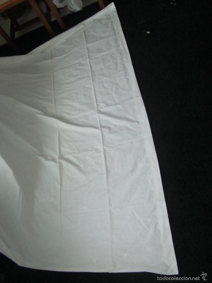 Antigüedades: Sábana bordada + funda de almohada cama grande - Foto 2 - 58663803