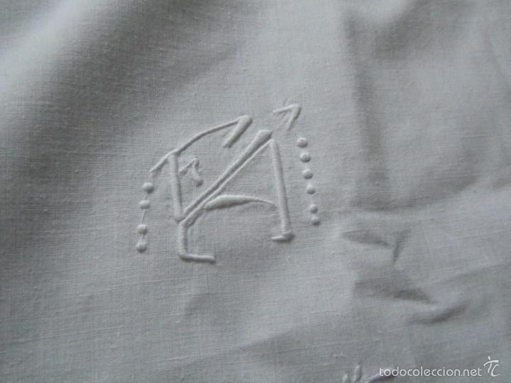 Antigüedades: Sábana bordada + funda de almohada cama grande - Foto 6 - 58663803