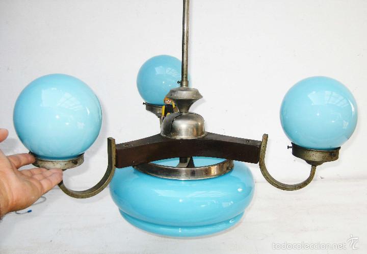 Preciosa lampara art deco en madera laton nikel comprar - Limpiar laton dorado ...