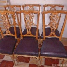 Antigüedades: CONJUNTO DE SEIS SILLAS ANTIGUAS DE MADERA TALLADA . Lote 58680987