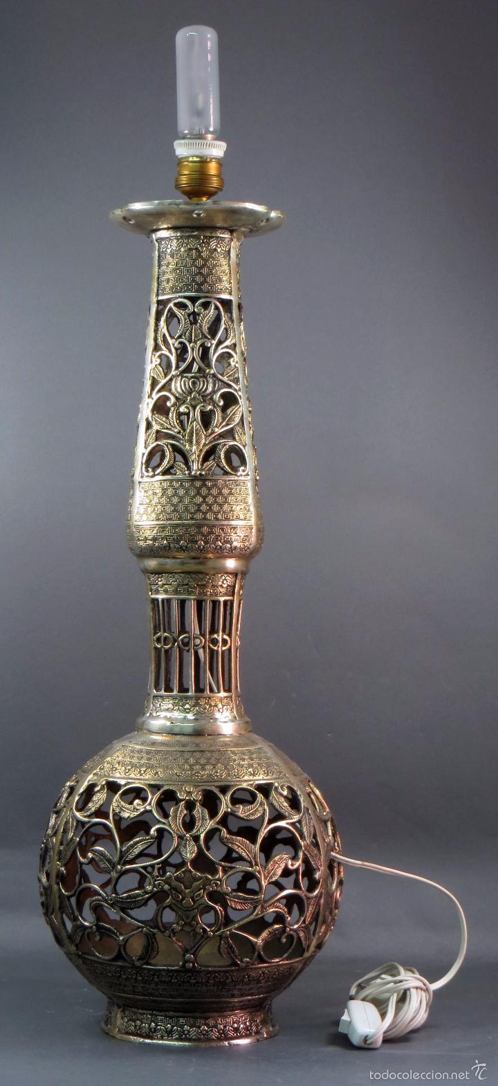 Antigüedades: Pie lámpara sobremesa bronce plateado estilo oriental S XX Funciona - Foto 2 - 58682684