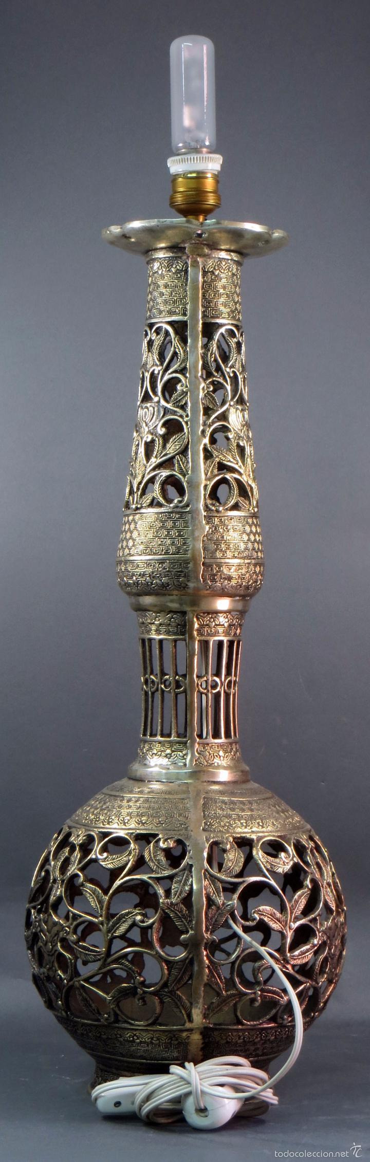 Antigüedades: Pie lámpara sobremesa bronce plateado estilo oriental S XX Funciona - Foto 3 - 58682684