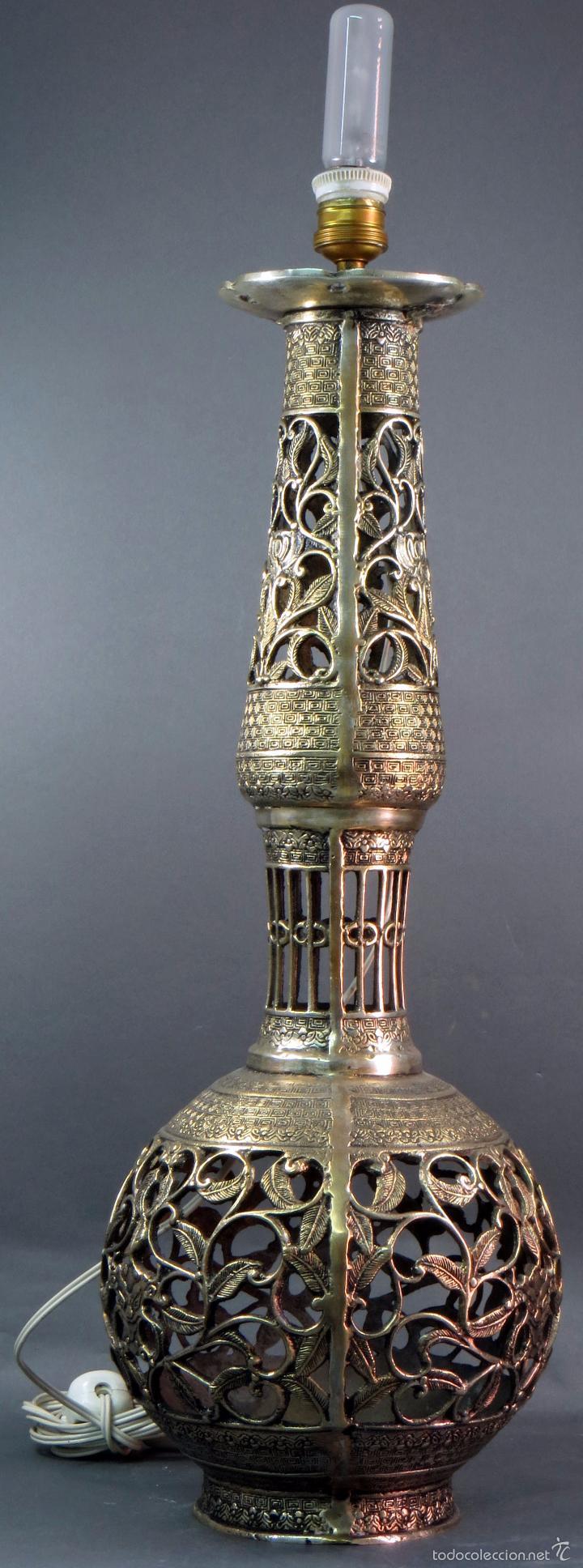 Antigüedades: Pie lámpara sobremesa bronce plateado estilo oriental S XX Funciona - Foto 4 - 58682684