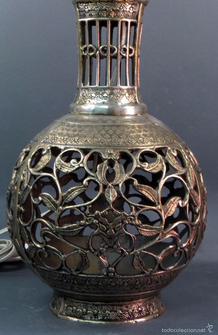 Antigüedades: Pie lámpara sobremesa bronce plateado estilo oriental S XX Funciona - Foto 5 - 58682684