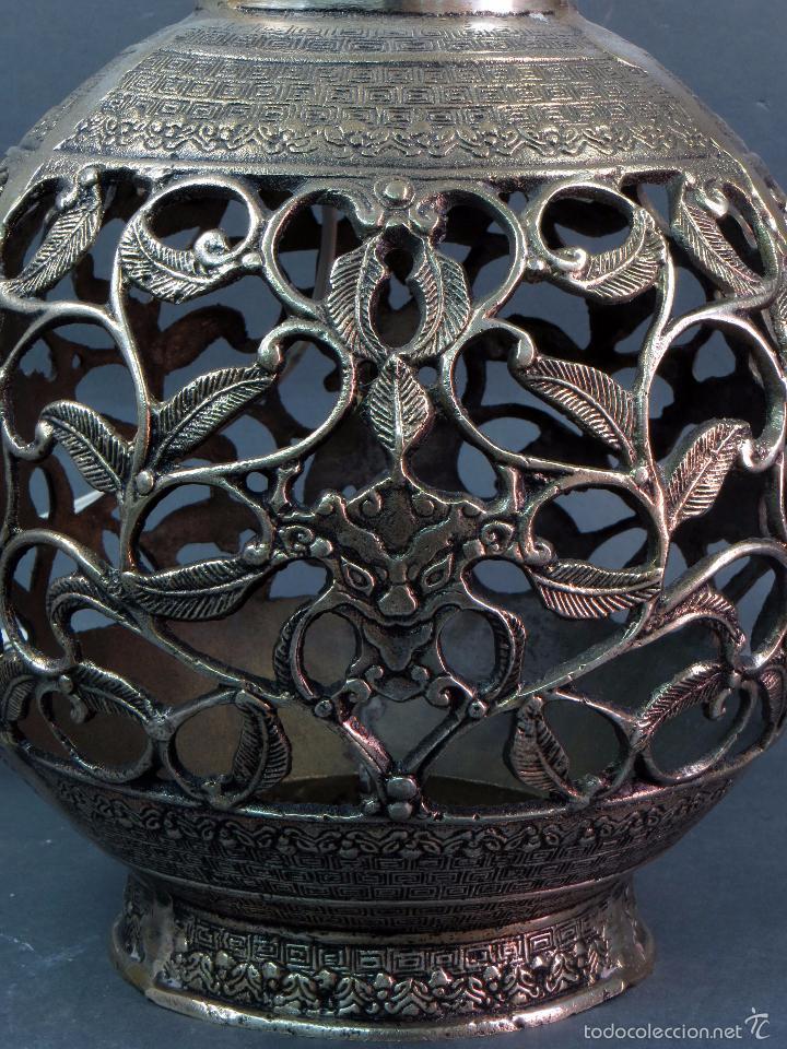Antigüedades: Pie lámpara sobremesa bronce plateado estilo oriental S XX Funciona - Foto 6 - 58682684