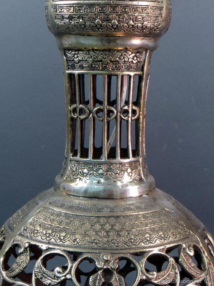 Antigüedades: Pie lámpara sobremesa bronce plateado estilo oriental S XX Funciona - Foto 7 - 58682684