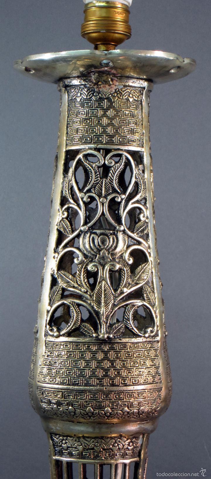 Antigüedades: Pie lámpara sobremesa bronce plateado estilo oriental S XX Funciona - Foto 8 - 58682684