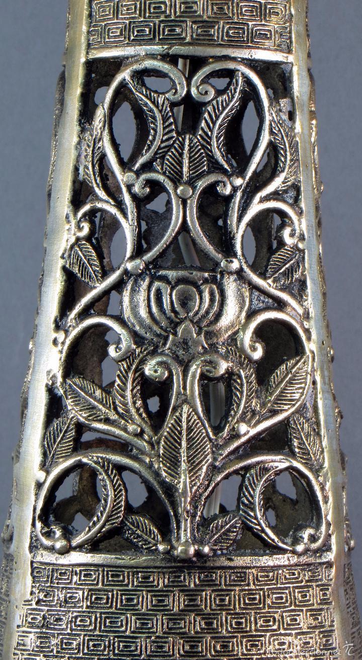 Antigüedades: Pie lámpara sobremesa bronce plateado estilo oriental S XX Funciona - Foto 9 - 58682684