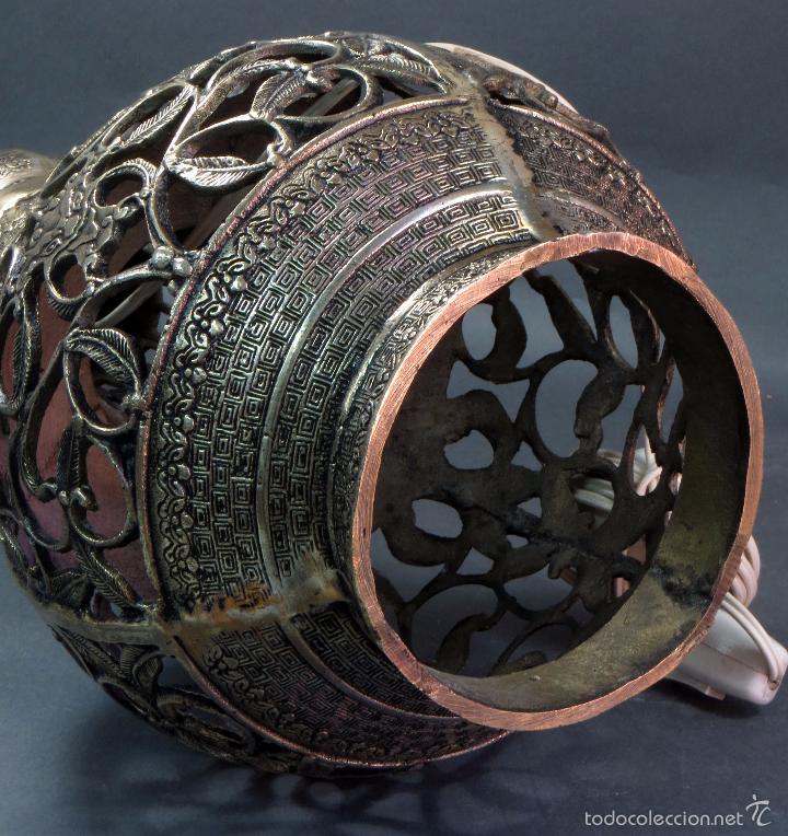 Antigüedades: Pie lámpara sobremesa bronce plateado estilo oriental S XX Funciona - Foto 10 - 58682684