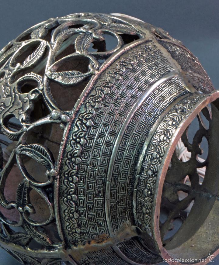 Antigüedades: Pie lámpara sobremesa bronce plateado estilo oriental S XX Funciona - Foto 11 - 58682684