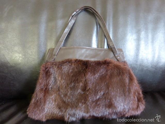 bolso de piel y vison guardamanos - Comprar Moda Antigua de Mujer en ... d1937cdffc58
