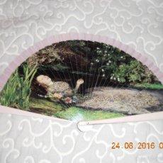 Antigüedades: IMPRESIONANTE ABANICO DE MADERA PINTADO DE OFELIA ( MILLAIS ). Lote 58708867