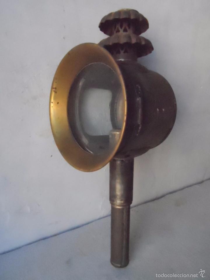 LAMPARA FAROL MAS DE 100 AÑOS 100 % AUTENTICO (NO REPINTADO) EXCELENTE ESTADO MARCA B LYON (Antigüedades - Iluminación - Faroles Antiguos)