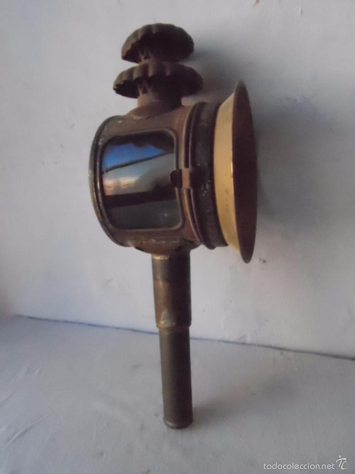 Antigüedades: lampara farol mas de 100 años 100 % autentico (no repintado) excelente estado marca b lyon - Foto 2 - 58715083