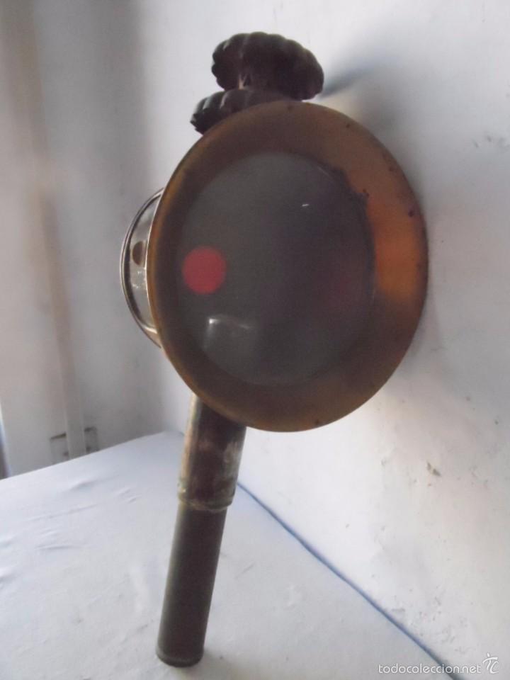 Antigüedades: lampara farol mas de 100 años 100 % autentico (no repintado) excelente estado marca b lyon - Foto 3 - 58715083