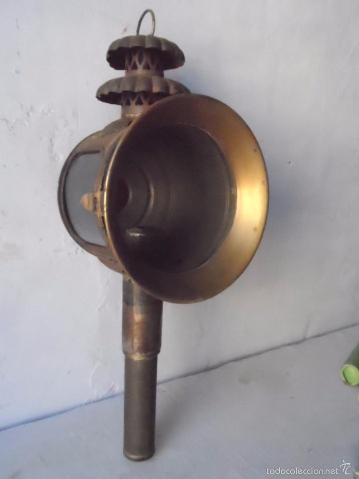 Antigüedades: lampara farol mas de 100 años 100 % autentico (no repintado) excelente estado marca b lyon - Foto 7 - 58715083