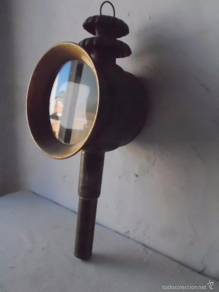 Antigüedades: lampara farol mas de 100 años 100 % autentico (no repintado) excelente estado marca b lyon - Foto 8 - 58715083