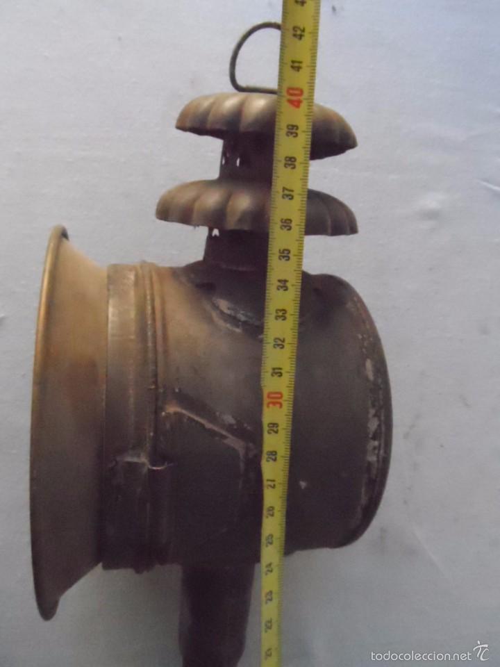 Antigüedades: lampara farol mas de 100 años 100 % autentico (no repintado) excelente estado marca b lyon - Foto 10 - 58715083