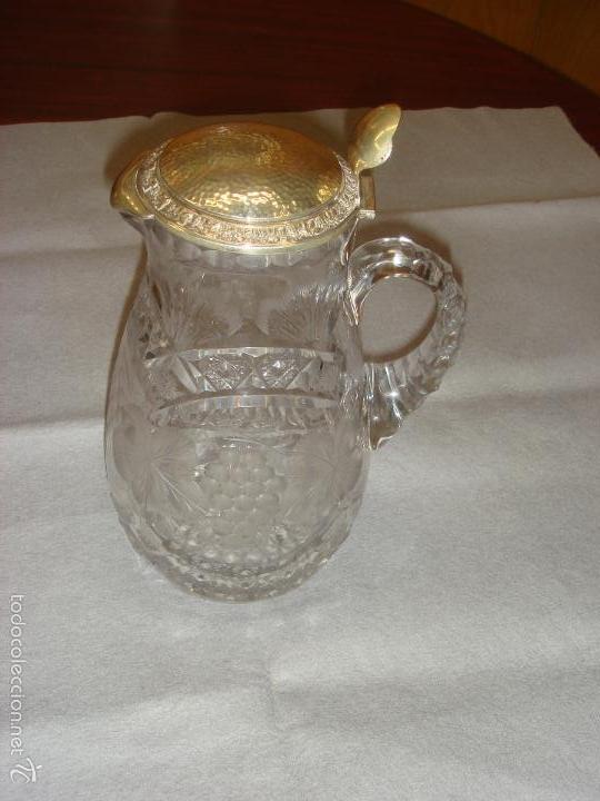 ANTIGUA Y MAGNIFICA JARRA EN CRISTAL DE BOHEMIA TALLADO CON TAPA DE PLATA. C1930 (Antigüedades - Cristal y Vidrio - Bohemia)