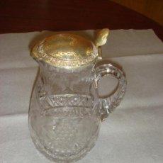 Antigüedades: ANTIGUA Y MAGNIFICA JARRA EN CRISTAL DE BOHEMIA TALLADO CON TAPA DE PLATA. C1930. Lote 58727662
