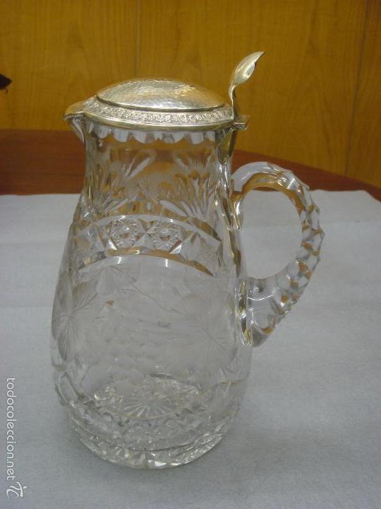 Antigüedades: ANTIGUA Y MAGNIFICA JARRA EN CRISTAL DE BOHEMIA TALLADO CON TAPA DE PLATA. C1930 - Foto 4 - 58727662