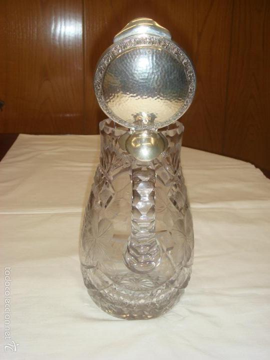 Antigüedades: ANTIGUA Y MAGNIFICA JARRA EN CRISTAL DE BOHEMIA TALLADO CON TAPA DE PLATA. C1930 - Foto 10 - 58727662
