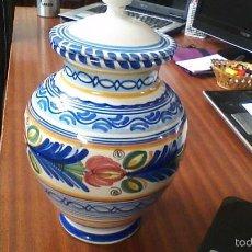 Antigüedades: JARRON DE CERAMICA DE PUENTE. 30 CM. DE ALTURA. Lote 58730420