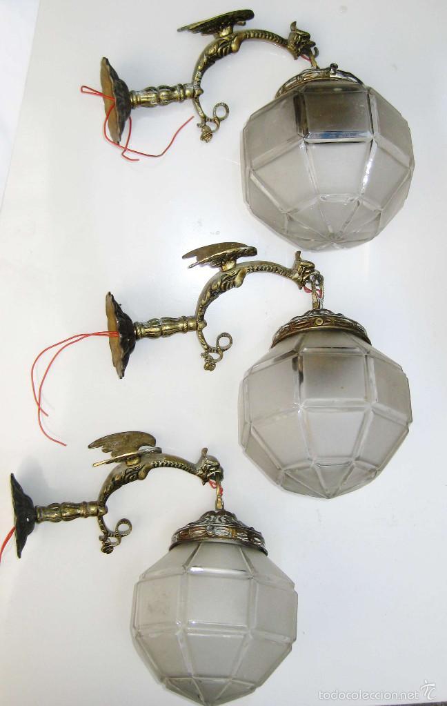 3 lamparas apliques pared antiguas bronce circa comprar apliques antiguos en todocoleccion - Apliques de pared clasicos ...