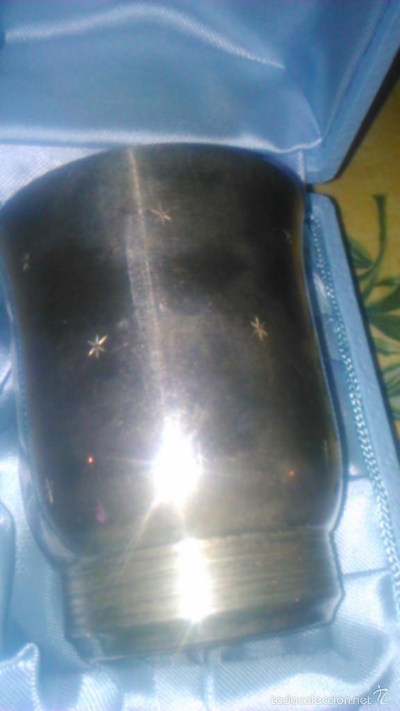 Antigüedades: Precioso vaso bañado en plata w g francia con caja forrada en raso.nombre de jean françois - Foto 5 - 58791046
